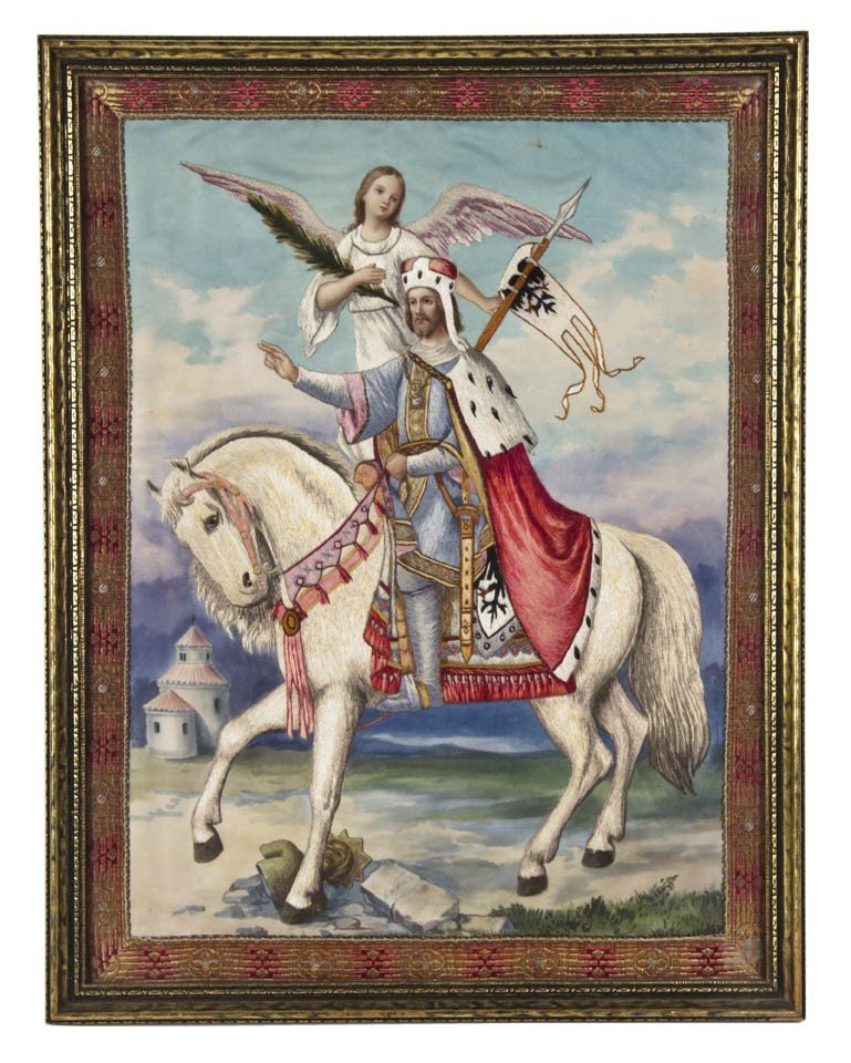 14: A Continental Needlework and Watercolor Picture, He