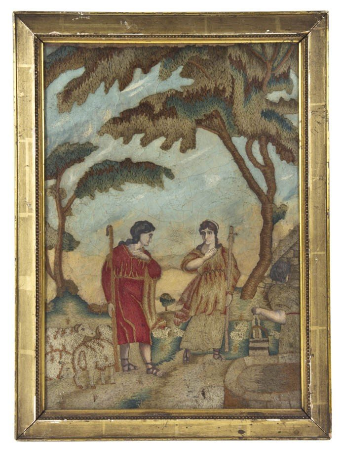 19: An English Needlework and Oil on Silk Picture, Heig
