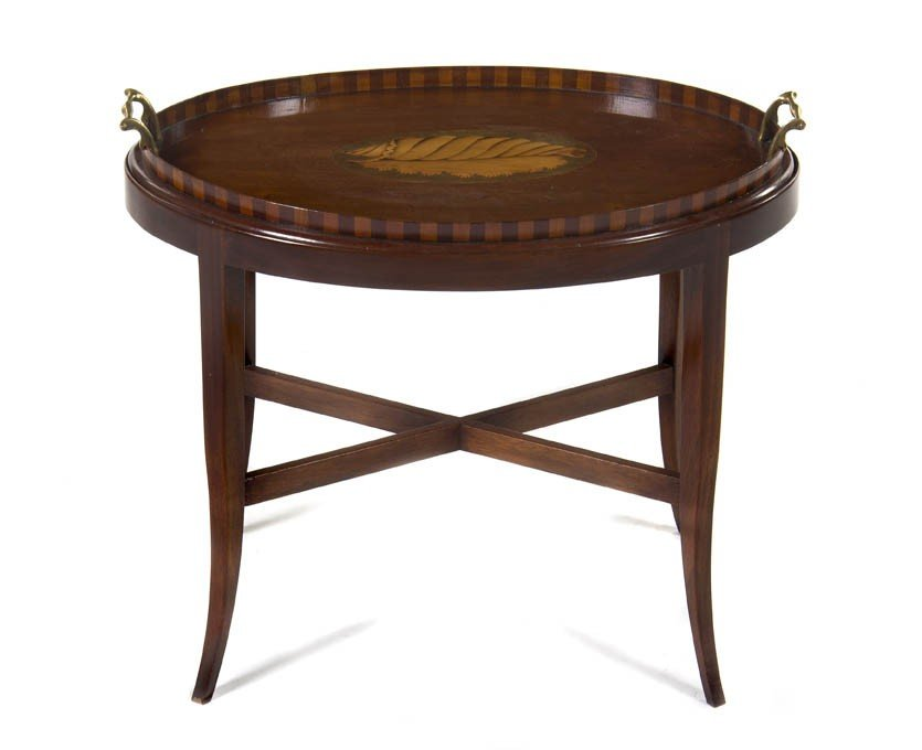 20: An English Mahogany and Fruitwood Inlaid Tray, Widt