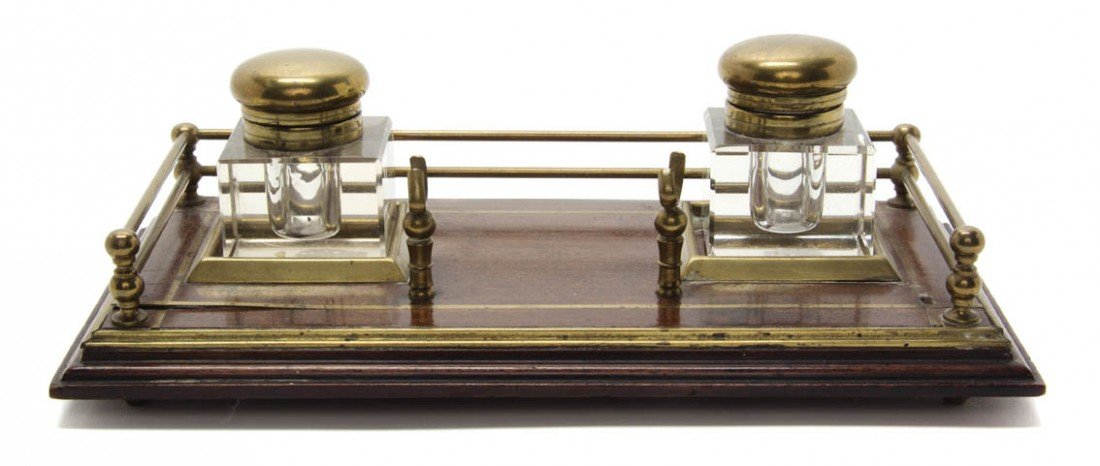 21: An English Mahogany and Brass Standish, Width 12 in