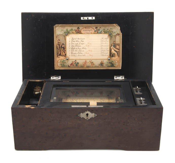 388: A Swiss Birdseye Maple Veneered Pine Music Box, He