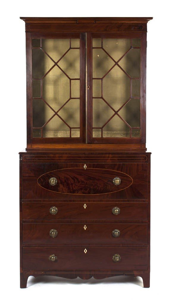 522: An American Mahogany Secretary Bookcase, Height 88