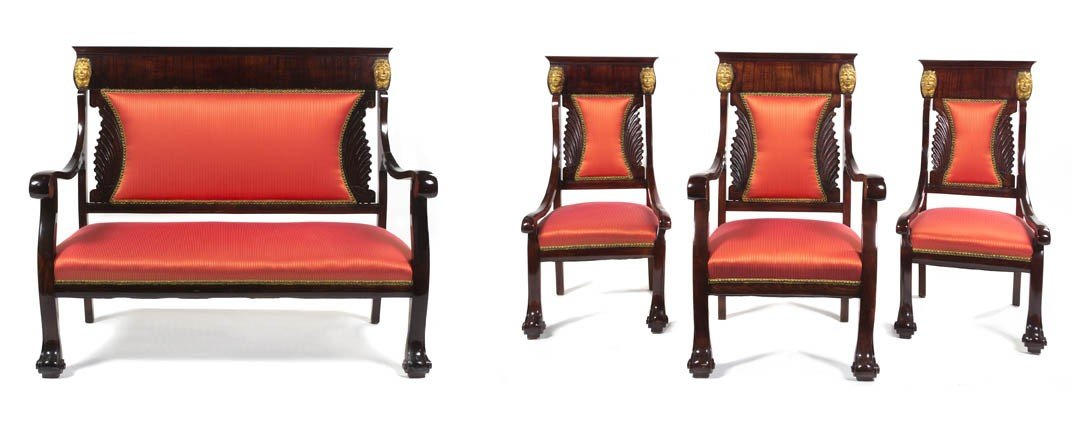 536: An Empire Style Mahogany and Parcel Gilt Parlor Su