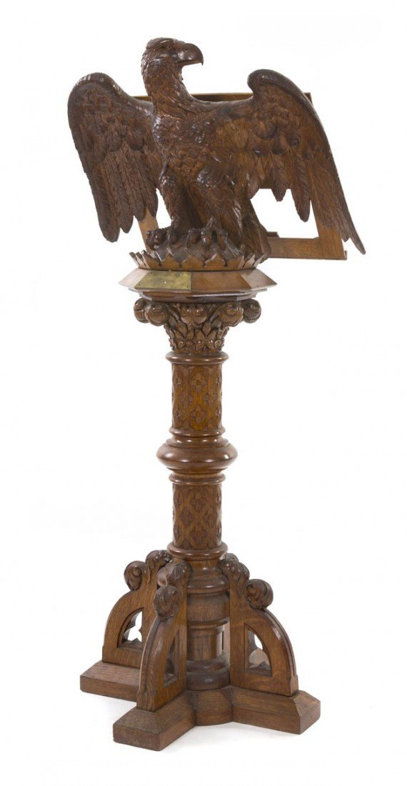 537: An American Carved Oak Eagle Form Lectern, Height