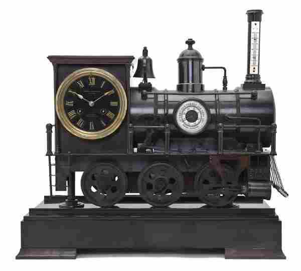 A French Bronze Locomotive Form Mantel Clock, Leme
