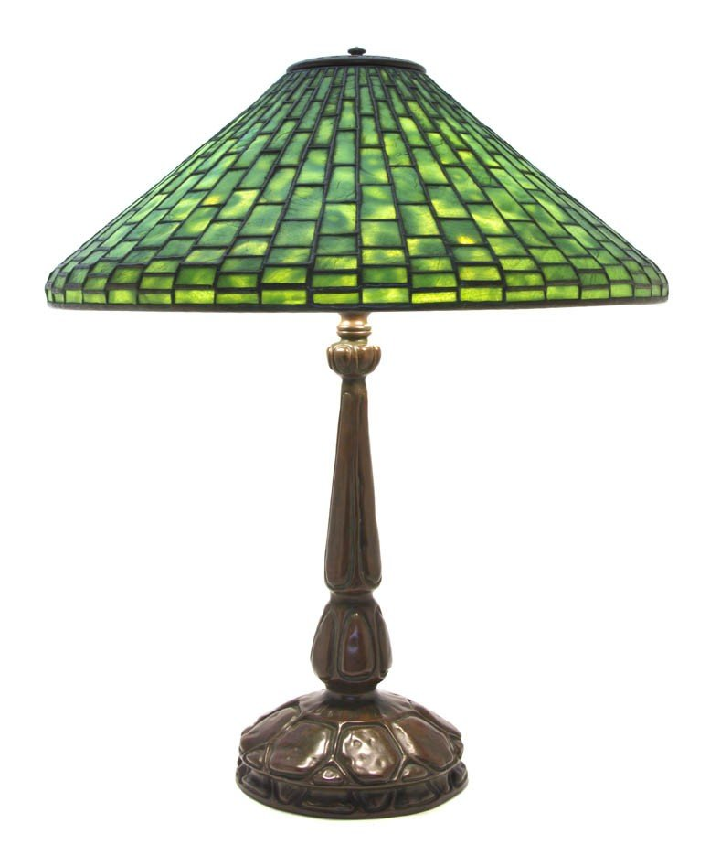 584: A Tiffany Studios Favrile Glass and Bronze Geometr