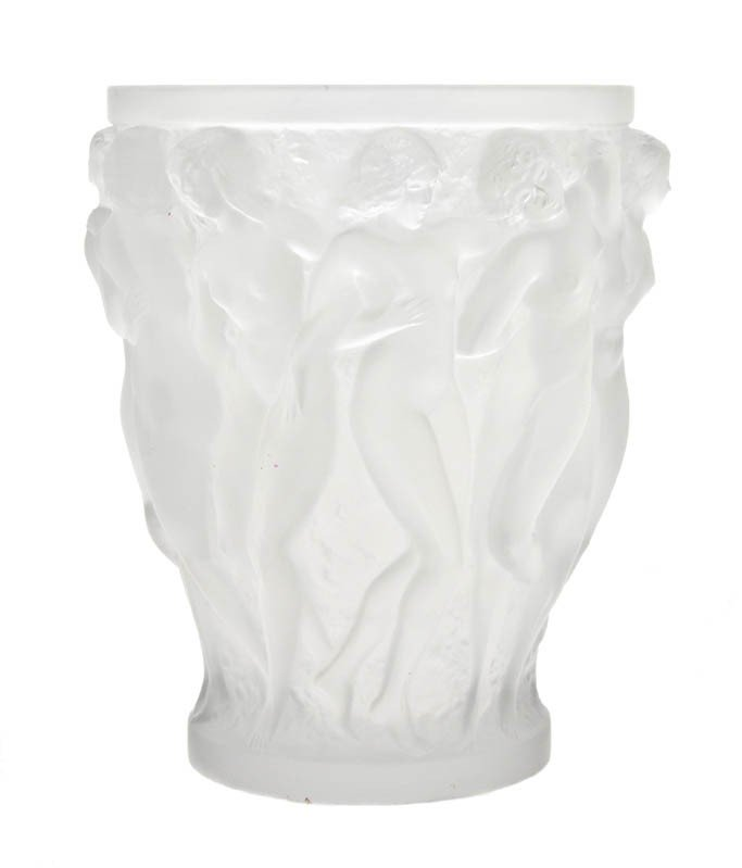637: A Lalique Molded and Frosted Glass Bacchantes Vase