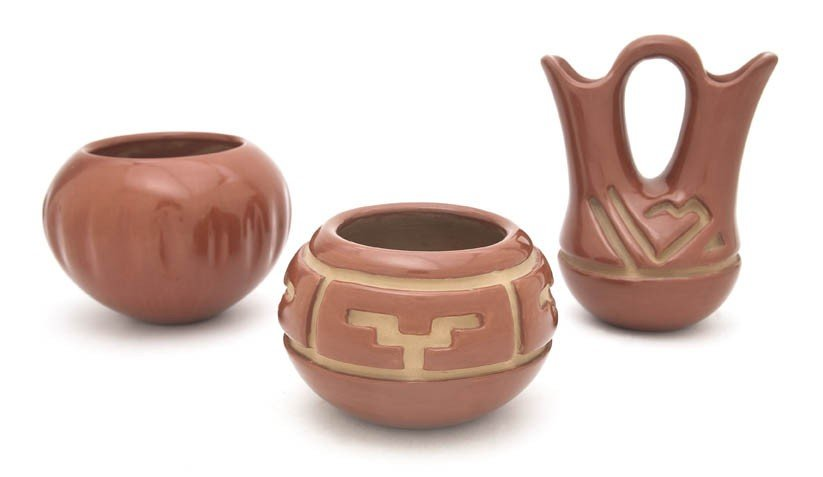 683: A Group of Santa Clara Redware Pottery Articles, M