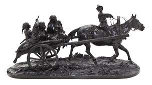 776 A Russian Bronze Figural Group Evgeny Aleksandrov