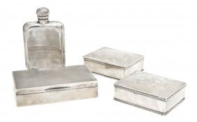 Two English Silver Boxes, Width Of Widest 5 3/4 In