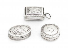 A Group Of Three English Silver Pocket Articles, W