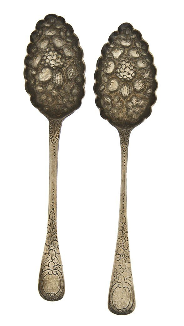 952: Two English Silver Berry Spoons, Length of first 8