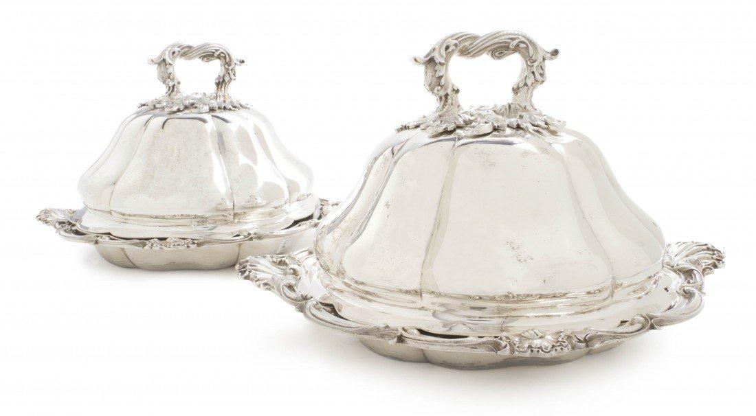 960: A Pair of English Silver Covered Entrees, John Sam