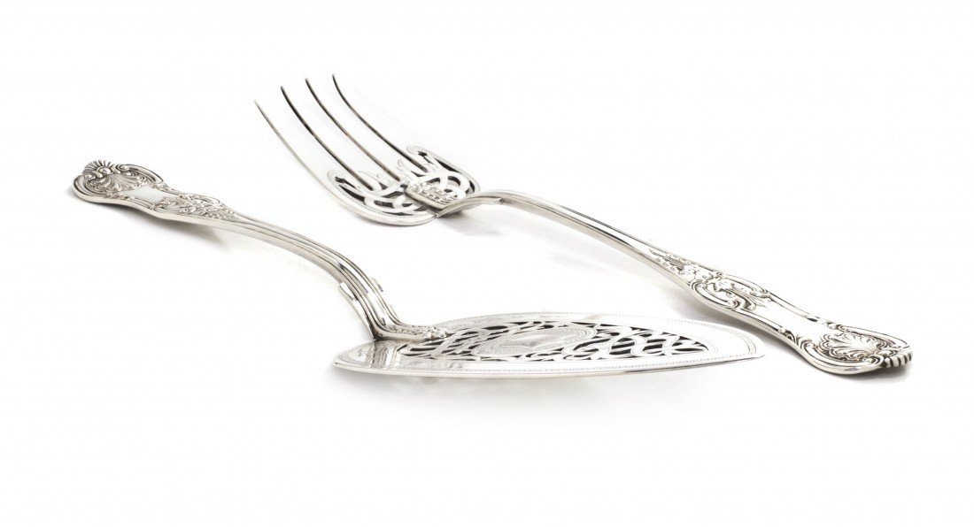 962: An English Silver Serving Fork and Flat Server, He