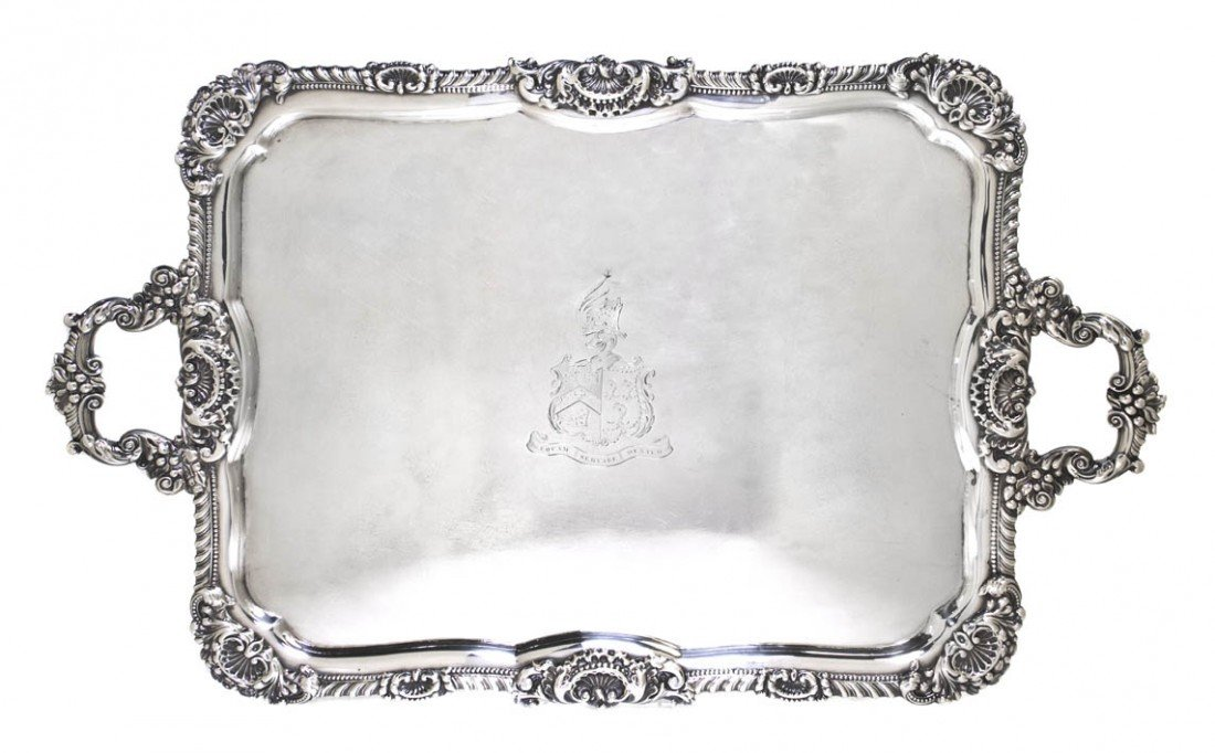 965: An English Silver Tray, JF & Co., Width over handl
