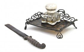 An English Tortoise Shell And Silver Ink Stand, At