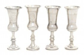 Four English Silver Kiddush Cups, Height Of Talles