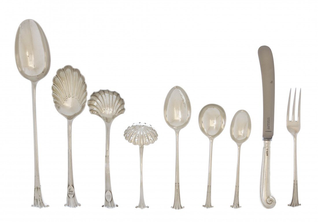 1000: An English Silver Flatware Service for Twelve, C.
