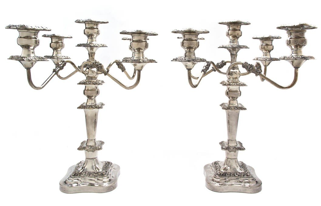 1007: A Pair of English Silverplate Five-Light Candelab