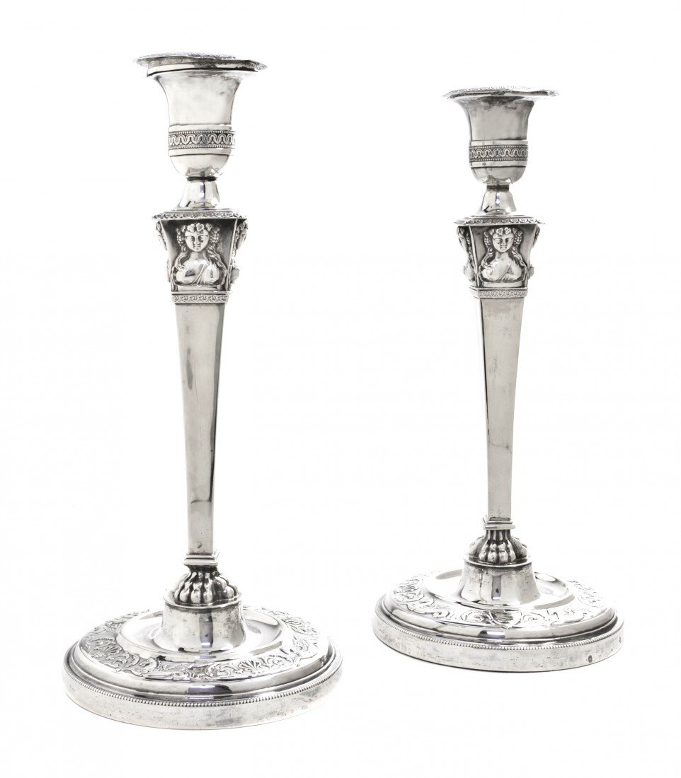 1013: A Pair of French Silver Candlesticks, Jean-Pierre