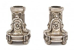 A Pair Of French Silver Candlesticks, Boinaburet,