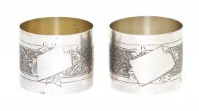 A Pair Of French Silver Napkin Rings, Victor Dema