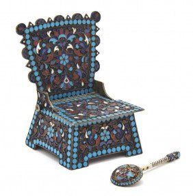 A Russian Gilt Silver And Enameled Throne Salt, H
