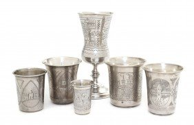 A Collection Of Five Russian Silver Kiddish Cups,