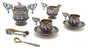 A Russian Silver And Enameled Service For Two, Wi