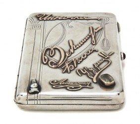 A Russian Silver Cigarette Case, Width 4 3/4 Inch
