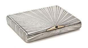 1036 A Russian Silver and 14K Gold Cigarette Case Wid