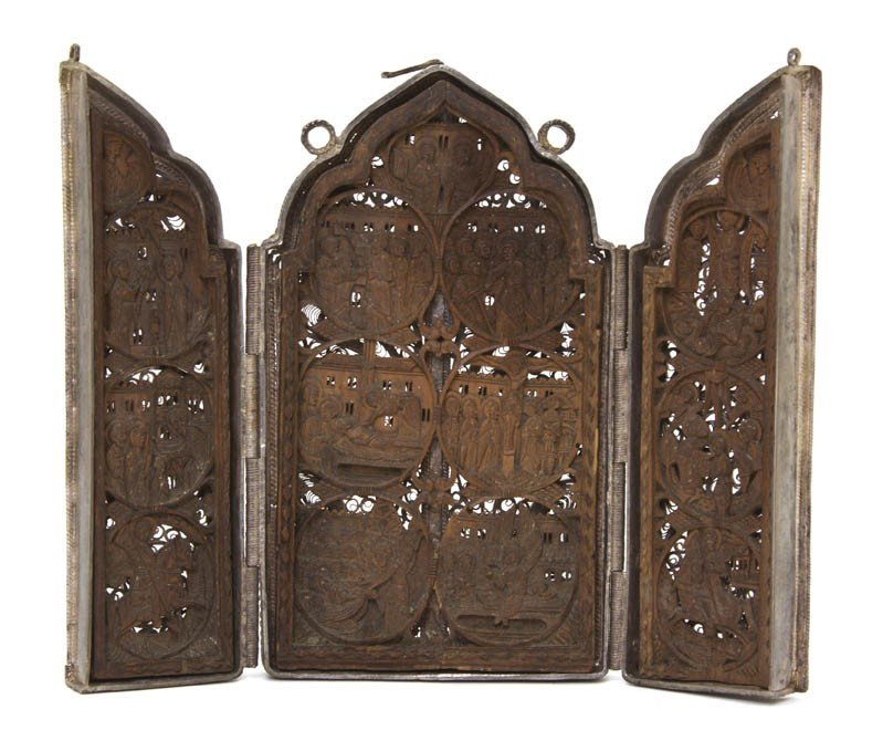 1042: A Russian Silver and Carved Wood Triptych, Height