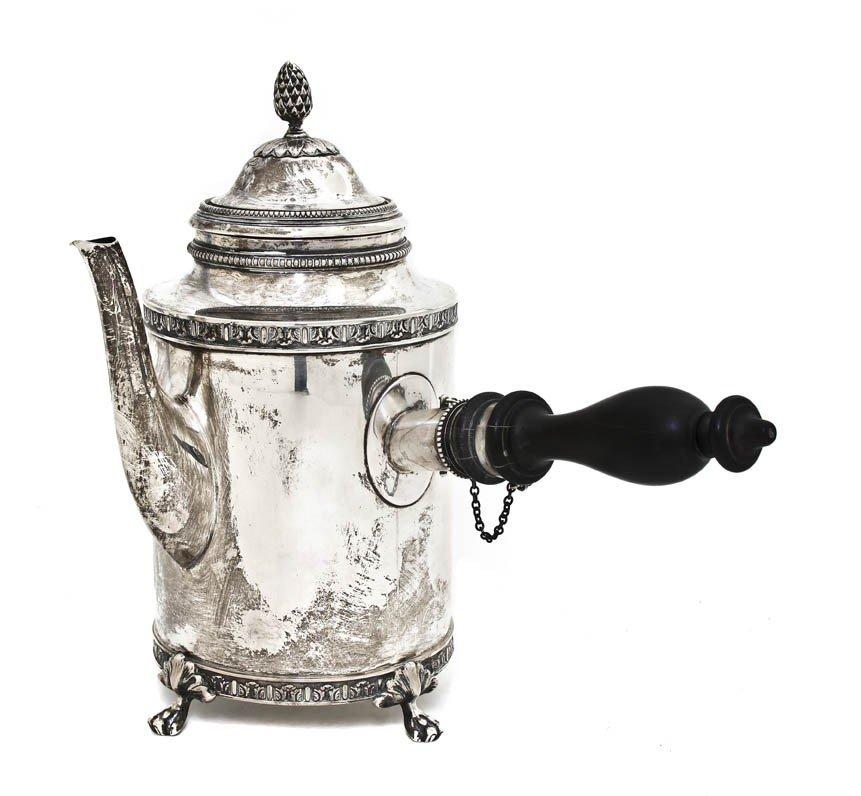 1043: A Swedish Silver Argyle Coffee Pot, Height 8 7/8