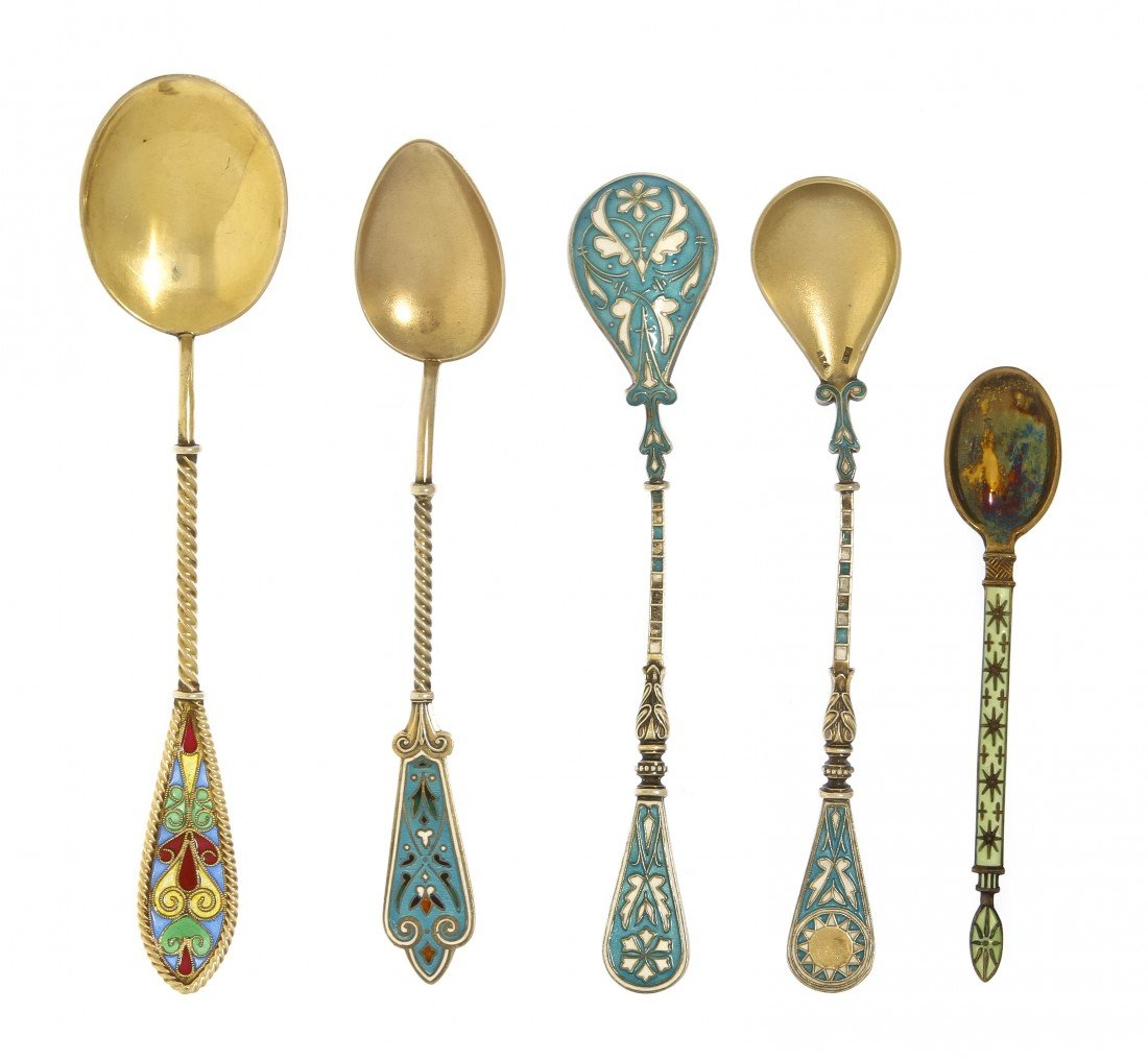 1047: A Collection of Eleven Enameled Silver Spoons, Le