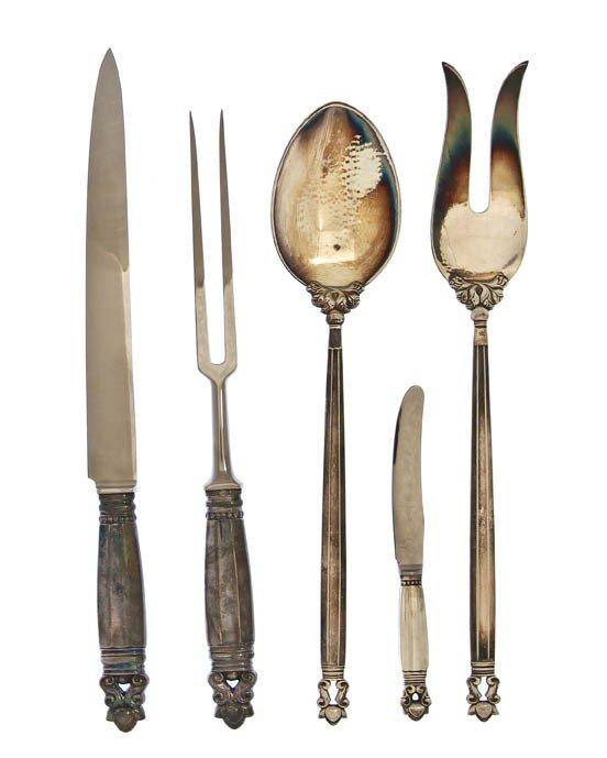 1049: A Danish Sterling Silver Salad Set, Georg Jensen,