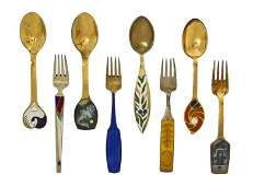 1055 A Collection of Danish Gilt Silver and Enameled F
