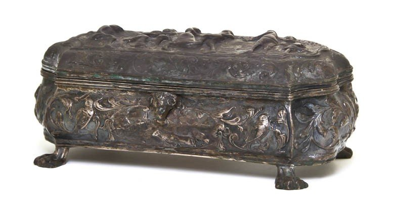 1060: A Dutch Silver Table Casket, Height 5 1/4 inches.