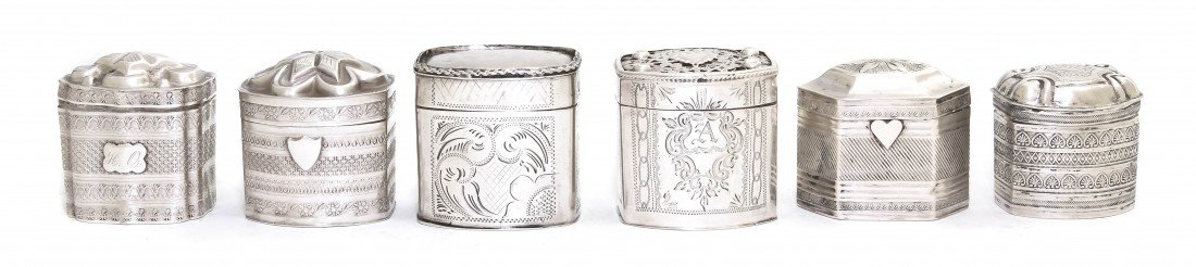 1061: A Collection of Six Dutch Silver Snuff Boxes, Hei