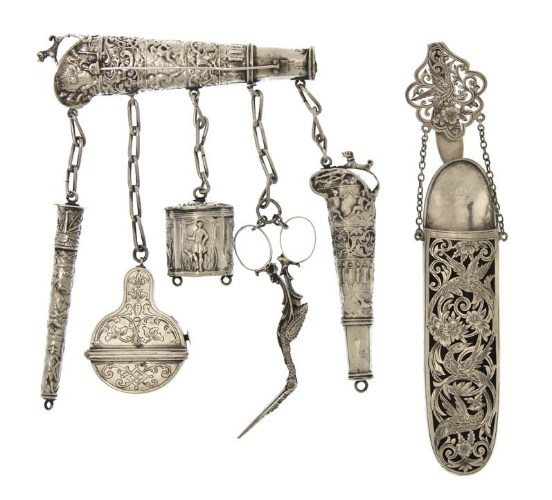 1063: A Dutch Silver Chatelaine, Length of longest over
