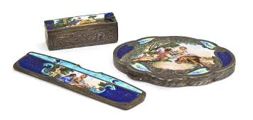 1084 A Continental Silver and Enameled Dresser Set Wi