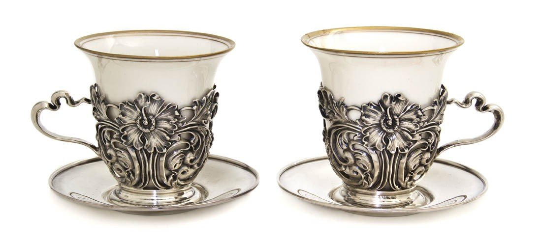 1238: A Cased Set of American Sterling Silver Coffee Cu