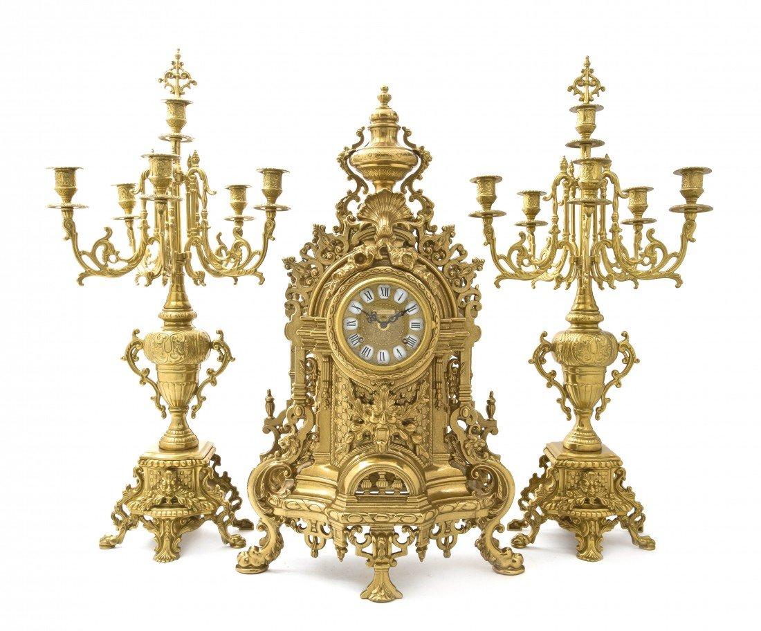 2003: An Imperial Gilt Metal Clock Garniture, Height of
