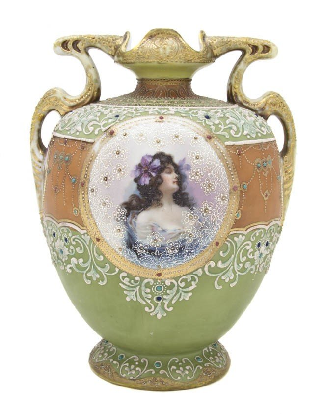 2004: A Nippon Porcelain Moriage Vase, Height 10 1/4 in