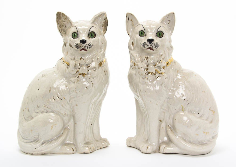 2005: A Pair of Staffordshire Cats, Height 12 inches.