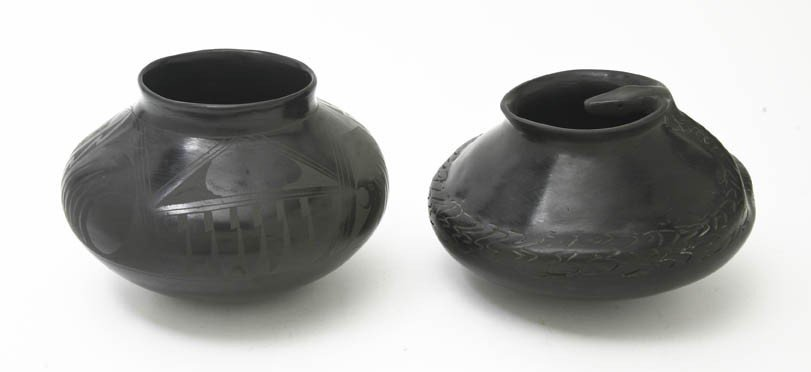 2008: A Blackware Pottery Vase, Height of first 5 1/8 i