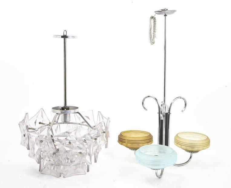 2010: An Art Deco Nickeled and Opaline Glass Three-Ligh