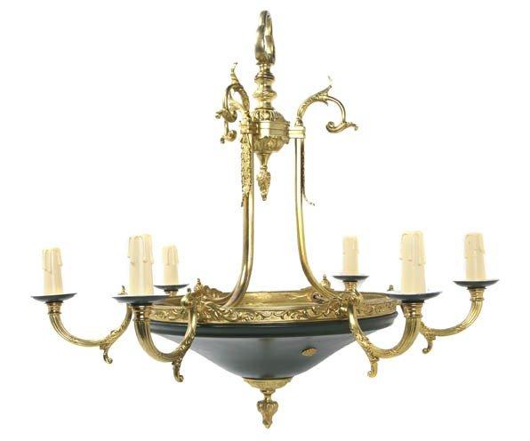 2011: An Empire Style Brass Six-Light Chandelier, Heigh