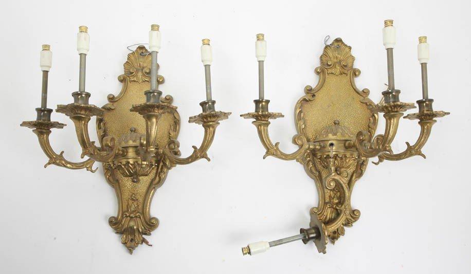 2015: A Pair of Gilt Bronze Four-Light Sconces, Height