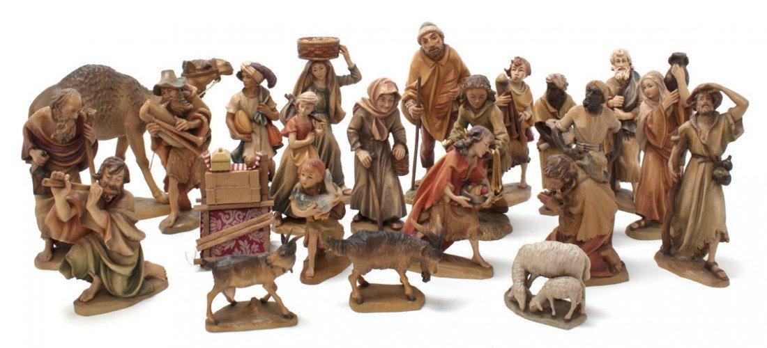 2017: An Italian Carved Wood Partial Nativity Set, Anri