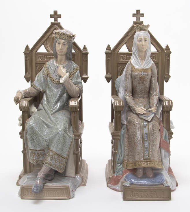2035: Two Lladro Porcelain Figures, Height 13 7/8 inche